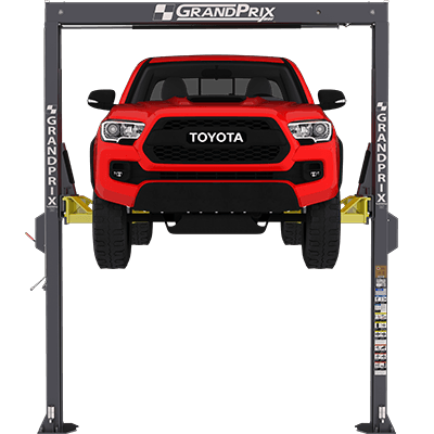 "GrandPrix GP-7 Two-Post Lift with 150"" Overall Height and 78"" Rise"