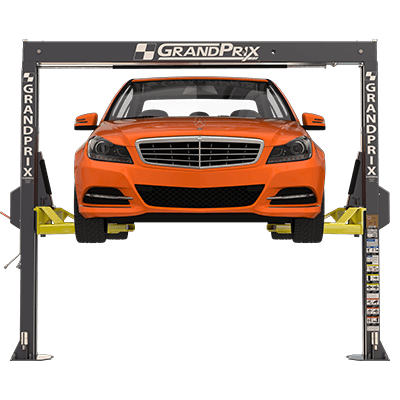 GrandPrix GP-7LCS two-post lift for low-ceiling garages
