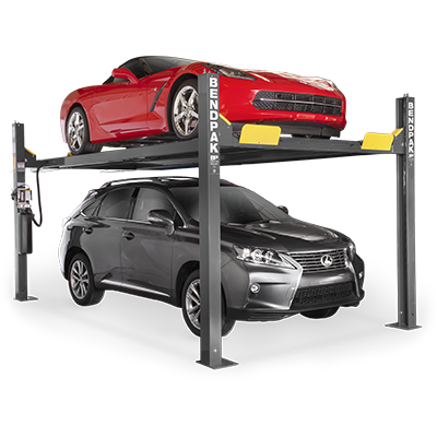 HD-9XW Four-Post Lift with Standard Width and Tall Lift by BendPak