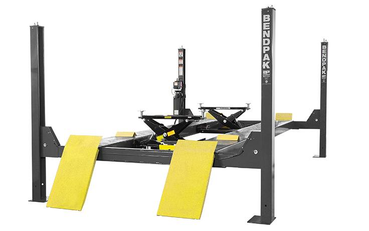 BendPak HDS-14X Four-Post Lift with Rolling Bridge Jacks