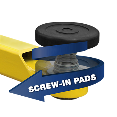 Adjustable Screw-Pad Lift Assembly for Two-Post Lifts