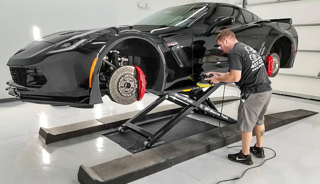 Lifting a Car with Mid-Rise Lift for Auto Detail