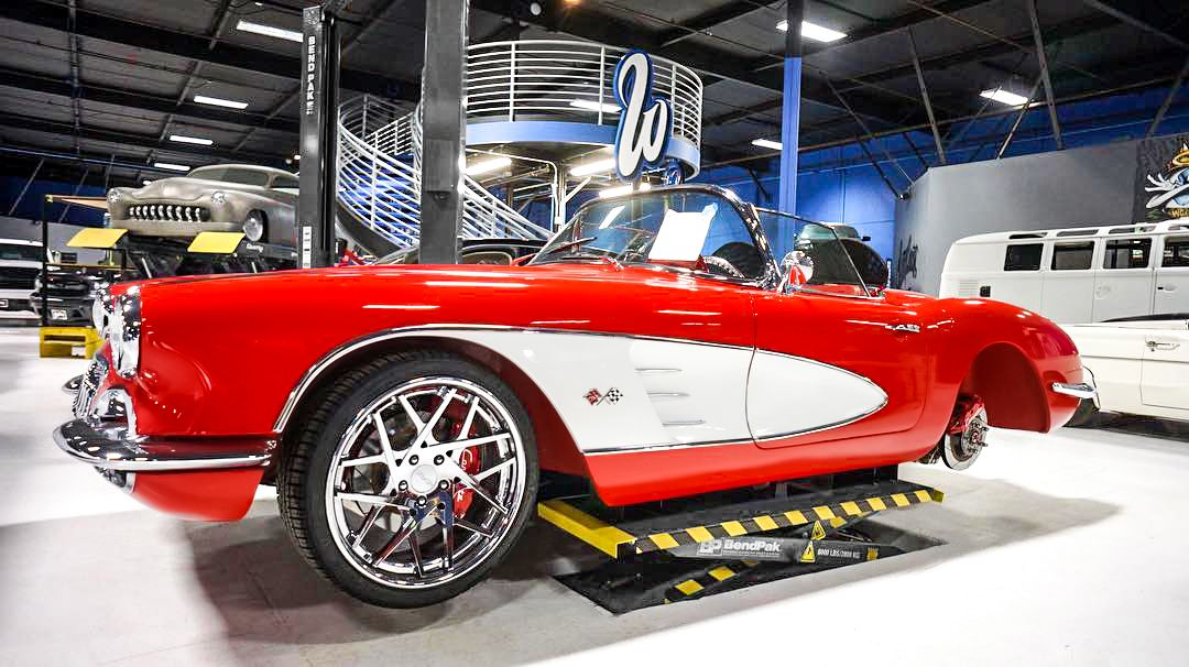 Corvette on BendPak Mid-Rise Lift at West Coast Customs